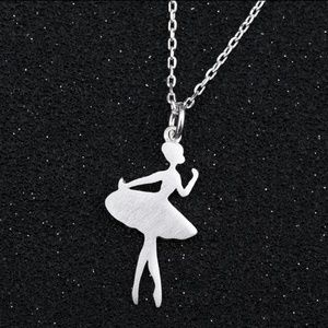 .925 Sterling Silver Ballerina Pendant Necklace